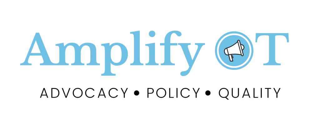Amplify OT logo in blue with advocacy, policy, quality tagline