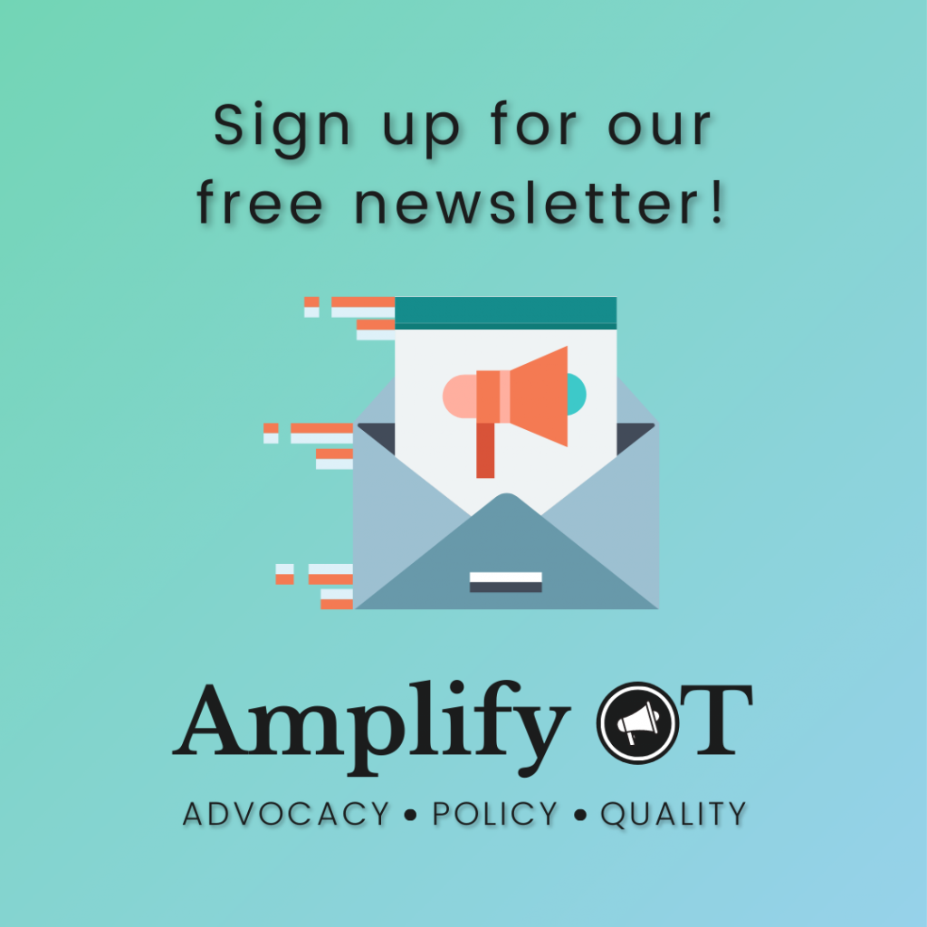 Sign up for Amplify OT's free newsletter showing open envelope with letter showing a megaphone
