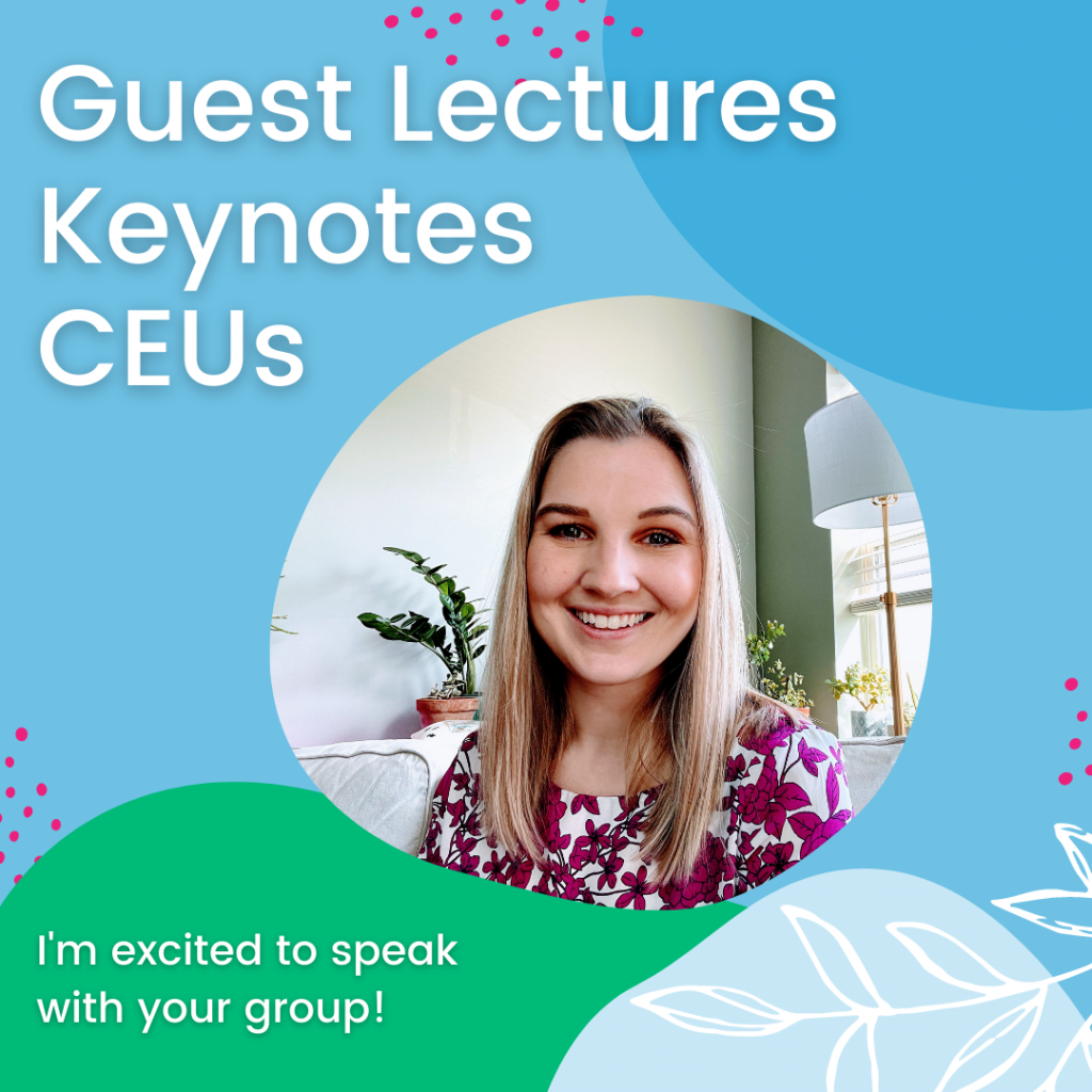 """Guest Lecture, Keynotes, CEUs with image of Clarice. text at bottom """"I'm excited to speak with your group"""""""